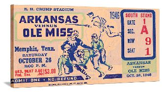 1946 Arkansas vs. Mississippi football ticket art on canvas. Great sports ticket art for a game room or office!
