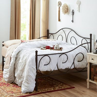 """Features: -Finial detailing. -Suitable for use as a bed or as extra seating. -Box spring not required. Style (Old): -Traditional. Frame Material: -Metal. Dimensions: -Space between slats: 4"""". -"""