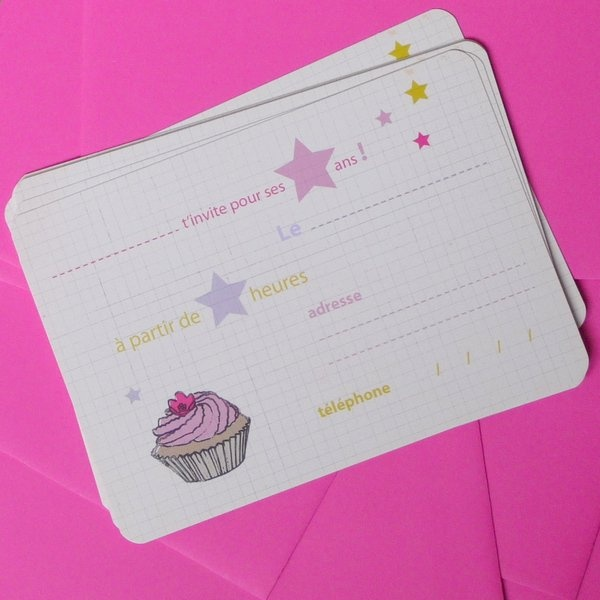 cupcake invitation cards by l'Encre Violette