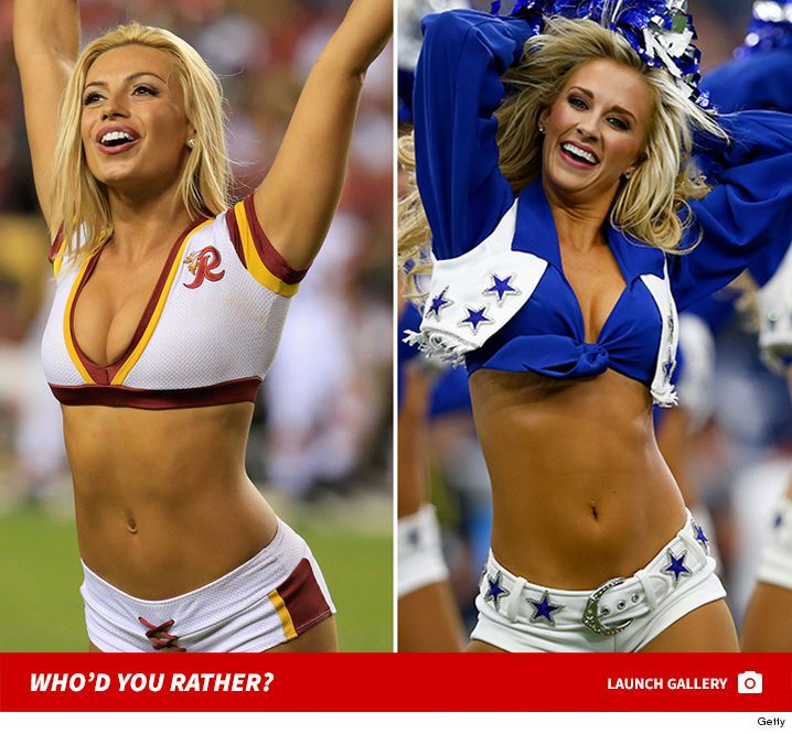 Cowboys vs. Redskins Cheerleaders -- Who'd You Rather? - http://blog.clairepeetz.com/cowboys-vs-redskins-cheerleaders-whod-you-rather/
