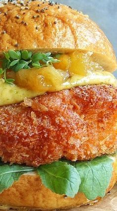Coconut Crusted Chicken Burger with Spicy Coriander Sauce & Caramelized Pineapple