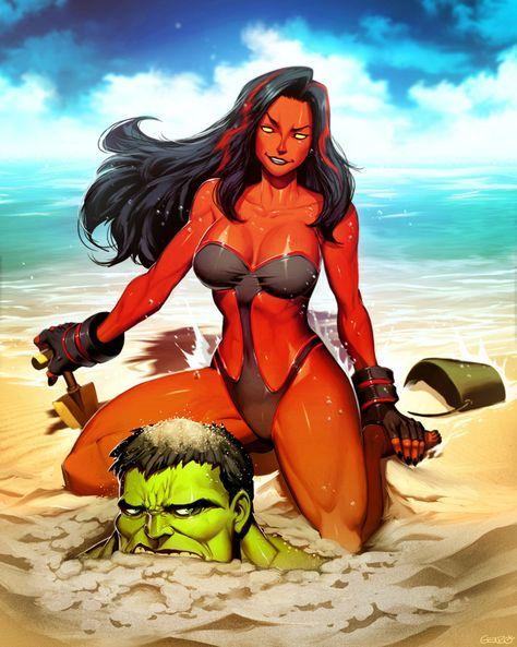 #Red #She #Hulk #Fan #Art. (Red She-Hulk Plus - Hit The Beach) By: GENZOMAN. ÅWESOMENESS!!!™ ÅÅÅ+