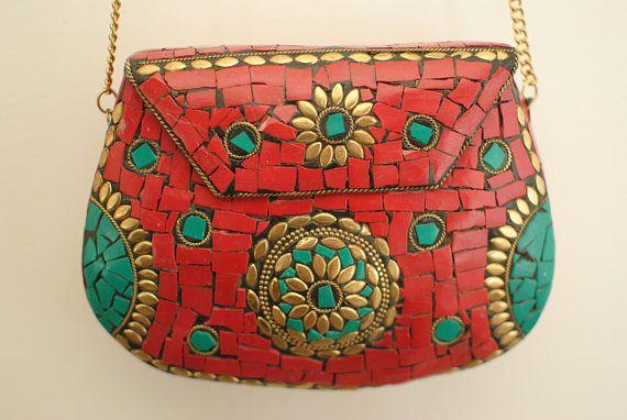 borsa fatta a mano sacchetto rosso mosaico sacchetto
