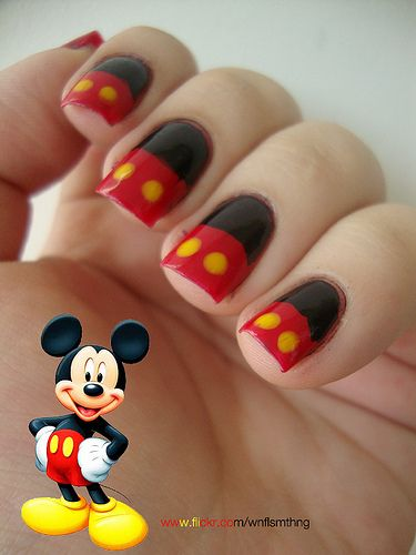 Mickey Mouse Nails...love these!, could do in pink w/ white dots for minnie