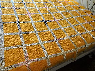Vtg Antique Quilt Shabby Chic Yellow Hand Stitched Hand Pieced 1900s Fabrics