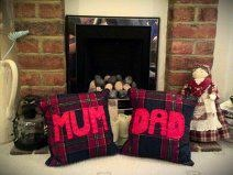 Home made cushions. Perfect way to say Thank You to your parents. Can be personalised for other loved ones. Visit http://www.facebook.com/KittyAndTiz to find out how to buy