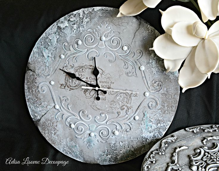 vintage antique shabby chic home decor wall watch by Adisa Lisovac decoupagede