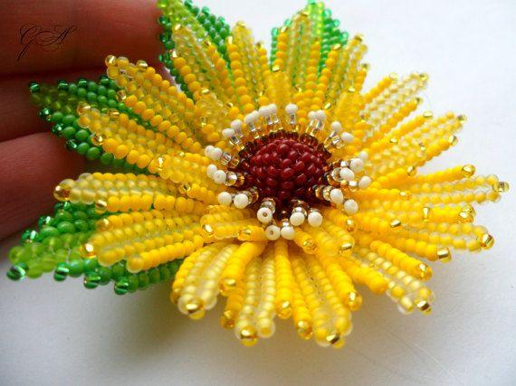 Gioielli di perline perline fiori capelli accessori fiore giallo fiore fascia elastica dei capelli regalo per il suo regalo di compleanno ucraino Нandmade
