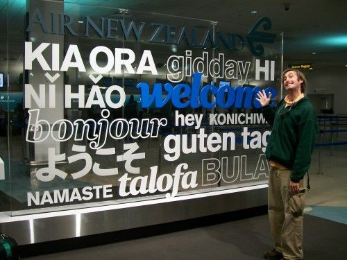 Auckland Airport welcome sign