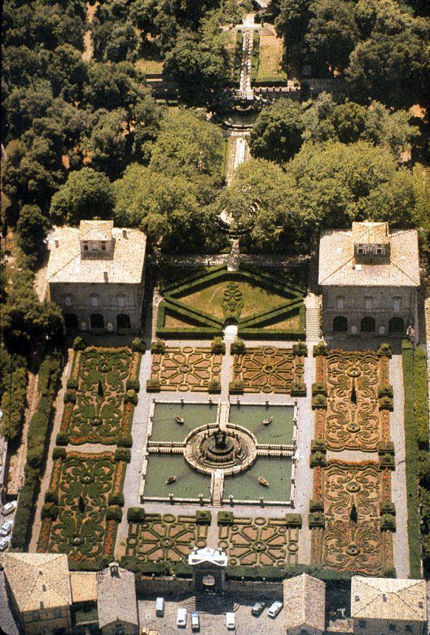Arial view, gardens of Villa Lante, Bagnaia, #Lazio, Italy
