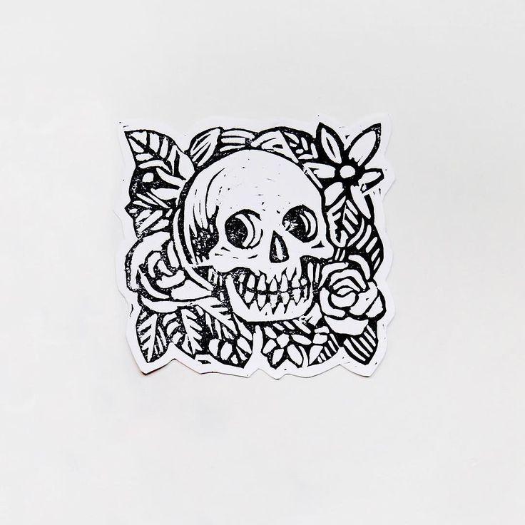 Woodcut skull