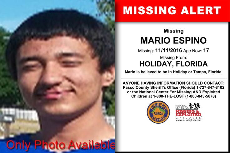 MARIO ESPINO, Age Now: 17, Missing: 11/11/2016. Missing From HOLIDAY, FL. ANYONE HAVING INFORMATION SHOULD CONTACT: Pasco County Sheriff's Office (Florida) 1-727-847-8102.