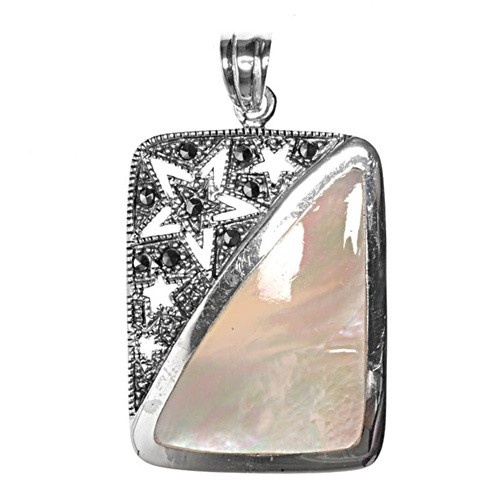 CloseoutWarehouse Simulated Opal Three Dolphins Pendant Sterling Silver
