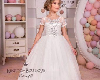 Ivory Lace Flower Girl Dress  Bridesmaid by KingdomBoutiqueUA
