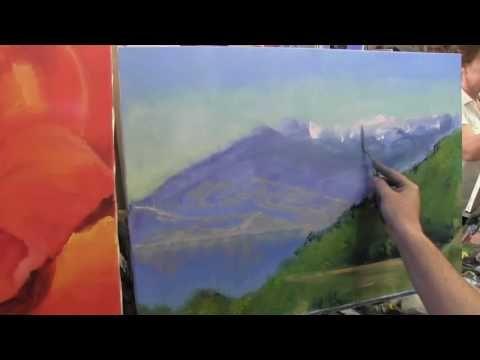 Горный пейзаж , как нарисовать гору, снег, альпийский луг, художник Сахаров - YouTube