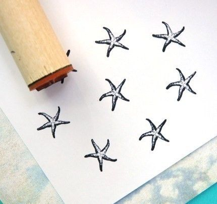 Starfish Rubber Stamp by norajane on Etsy