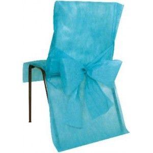 Housse de chaise intissé bleu turquoise avec noeuds intissé bleu turquoise, déco de chaises, mariage, baby shower, baptême, fêtes, table festive. http://www.baiskadreams.com/390-housses-de-chaise-turquoise-intisse-uni-avec-noeuds-les-10.html
