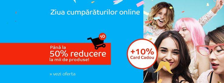 """Astăzi 29 martie 2017 eMag sărbătoreşte """"Ziua Cumpărăturilor Online"""" împreună cu tine. Doar azi poţi achiziţiona diverse produse reduse cu până la 50%, pentru care vei primi si un Card Cadou cu 10% din valoarea …"""