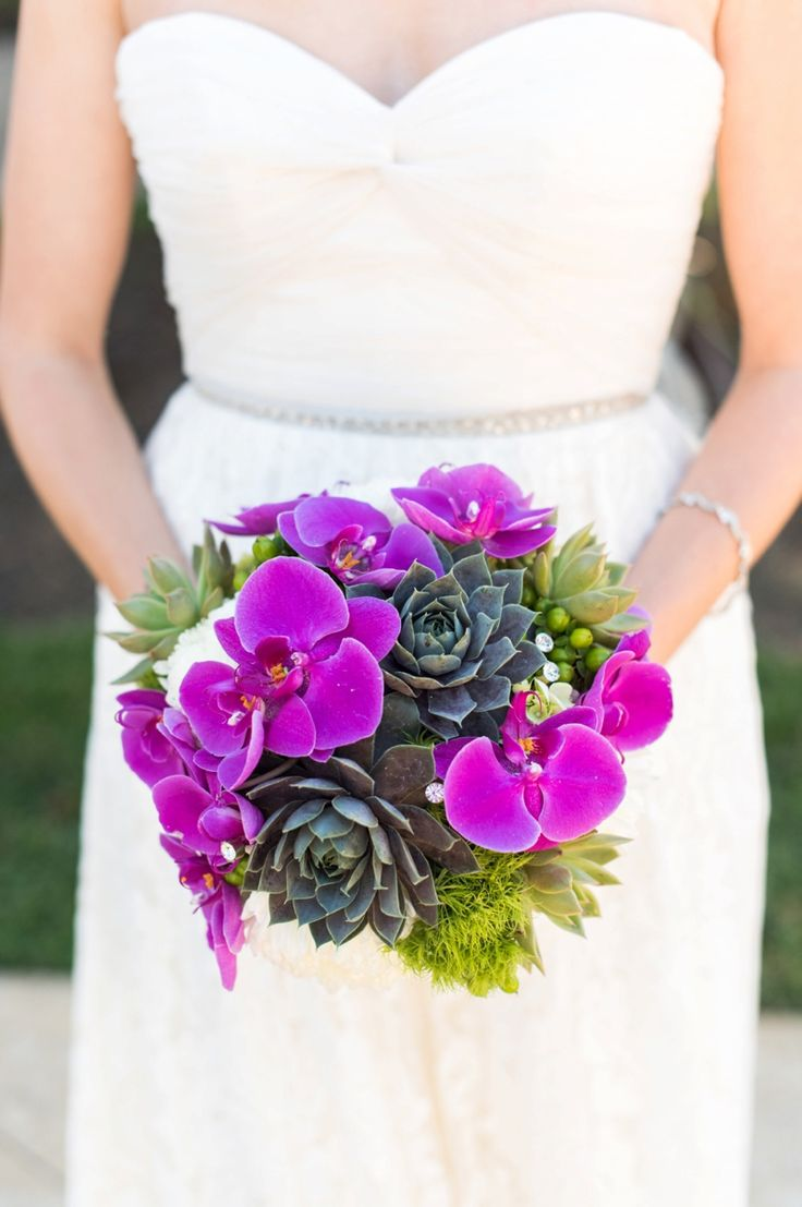 Succulent and orchid wedding bouquet | Caroline & Evan Photography