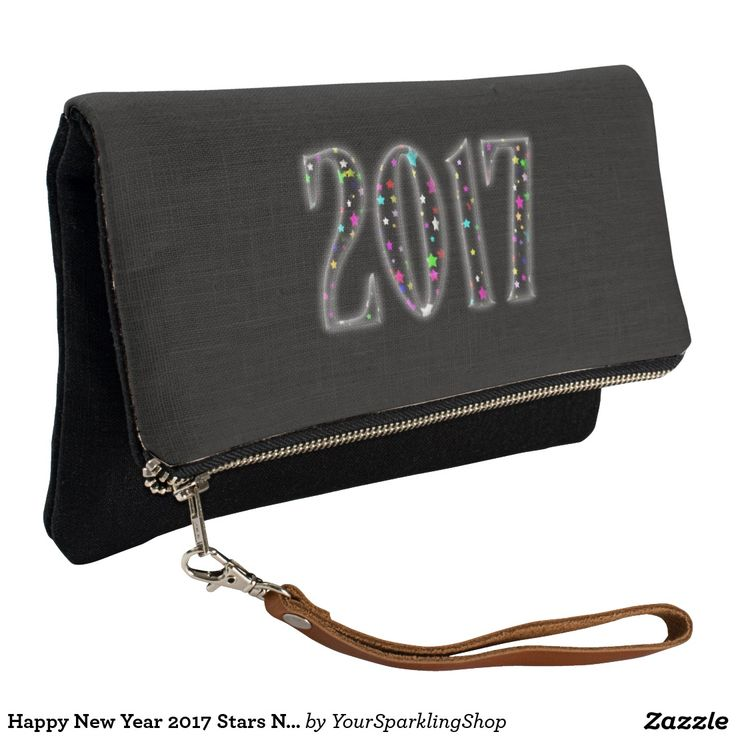 Happy New Year 2017 Stars Numbers Fold-Over Clutch
