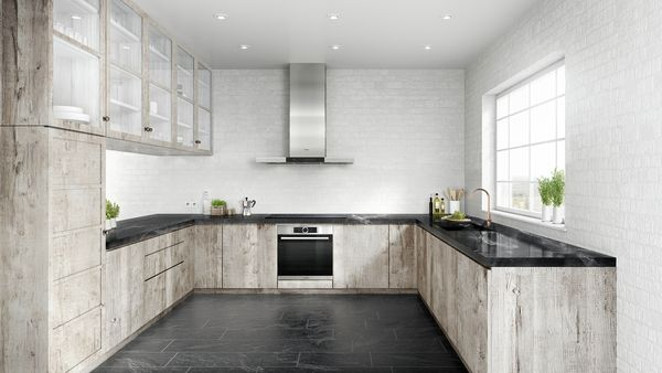 Built-in oven, Induction cooktop, Wall-mounted canopy rangehood, Fully integrated dishwasher 60 cm