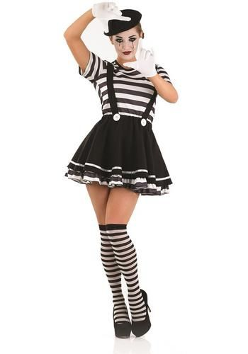 Mime-Artiste-Ladies-Fancy-Dress-Ladies-French-Circus-Pierrot-Clown-Women-Costume