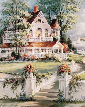 Thomas Kinkade Victorian Christmas Paintings | The sound it makes as surf does beat, a hymn of sound throughout the ...
