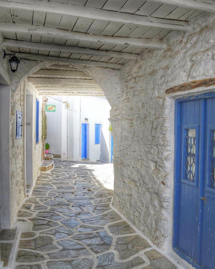 So beautiful traditional alley of Cyclades at Kythnos island (Κύθνος)