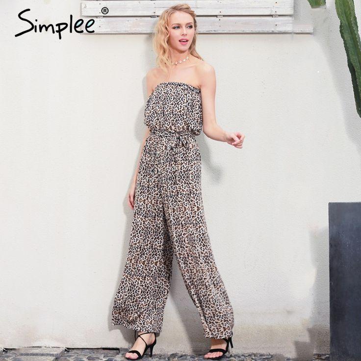 Off Shoulder Leopard Print Long Jumpsuit Romper Loose Soft Chiffon Summer .