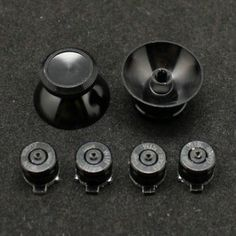 PS4 Black Aluminum Metal Bullet Button Thumbsticks Custom 7 Piece