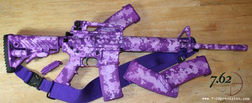 S&W M&P M4 Carbine in purple digital camo & custom purple three-point sling