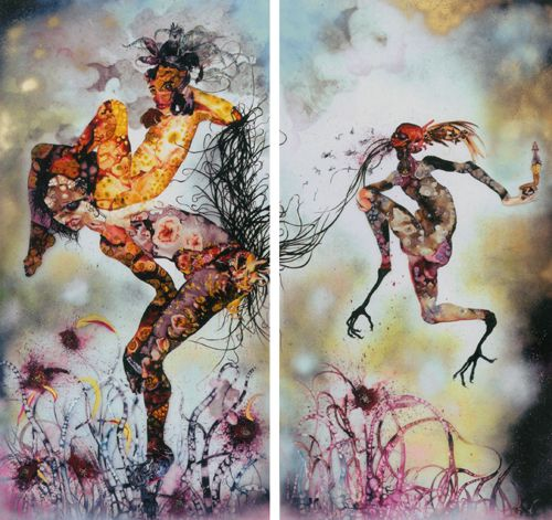 Wangechi Mutu is someone to look at. Her work is about her identity as an African woman living in New York. She uses an interesting mix of painted paper and magazine cut-outs.