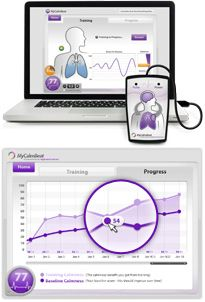 MyCalmBeat improves your calmness through slow breathing. Use the monitor to calculate your personal best breathing rate where you are calmest, and then train by breathing at that rate.