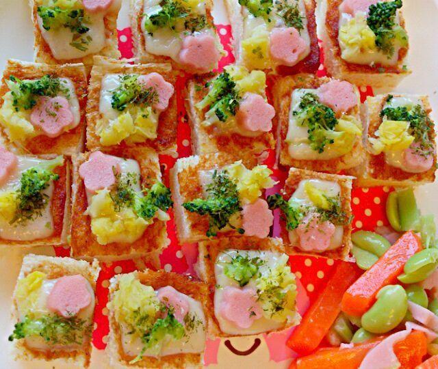 青海苔をふりかけてピザトースト風♪ - 56件のもぐもぐ - お好み焼き風ピザトースト by denpashock