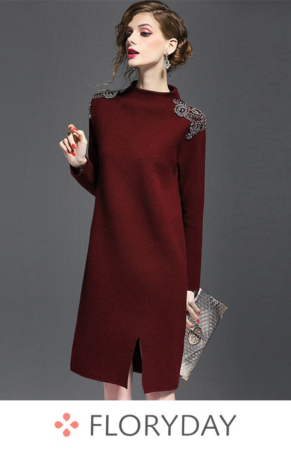 af80be00a34 Color block sweater long sleeve shift dress