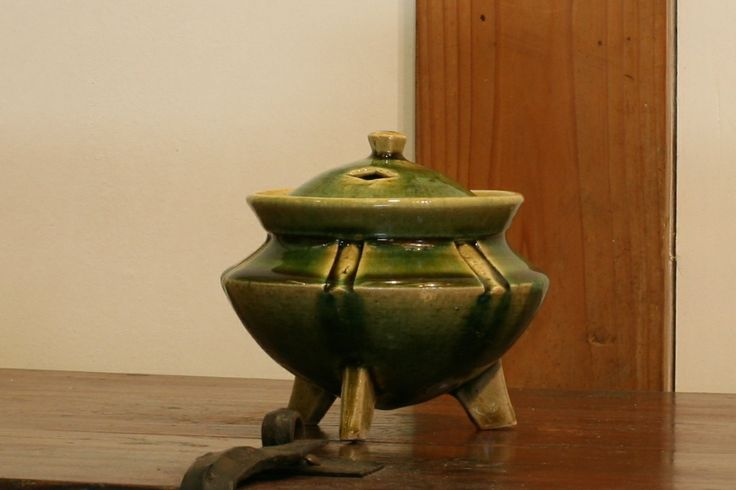 織部刻文香炉 Incense burner with engraved,Oribe type 2014