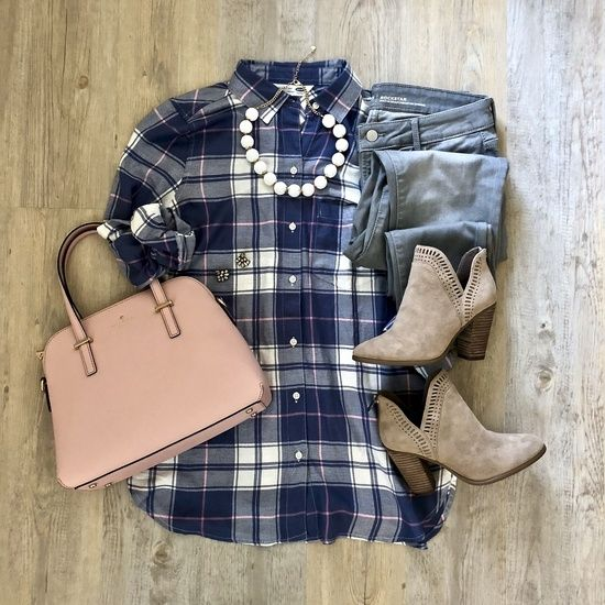 {Plaid Top} // Love the pops of pink in this plaid button down! I keep trying to pair items in my closet with the same accessories and also this gray denim to give you guys some stying ideas. I feel like if you can't buy an item and think of at least 3 ways to style it on the spot, don't buy it.  Well, unless your bank account looks must better than mine!  This plaid top is easy because of the varying colors and would love to wear it with my pink pencil skirt to work in the spring and also…