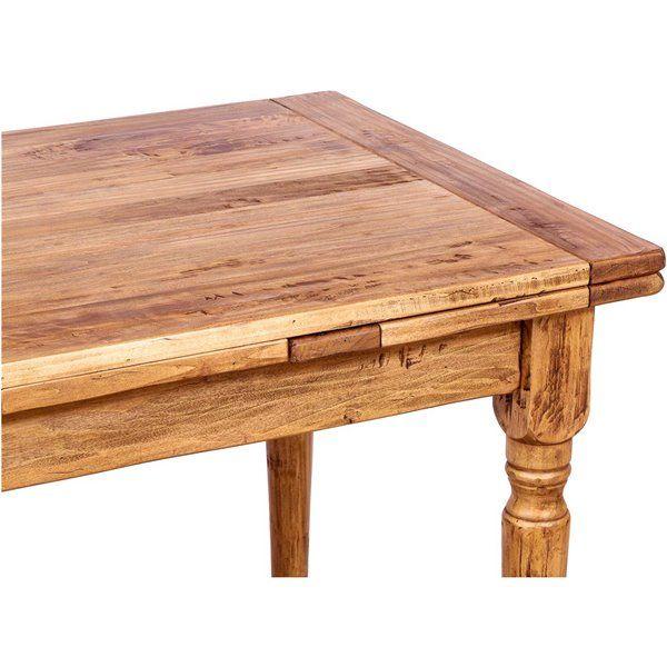 Tavolo Country allungabile in legno massello di tiglio finitura naturale 120x80x80 cm