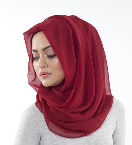 Deep Red Georgette Hijab - £10.99 : Inayah, Islamic Clothing & Fashion, Abayas, Jilbabs, Hijabs, Jalabiyas & Hijab Pins