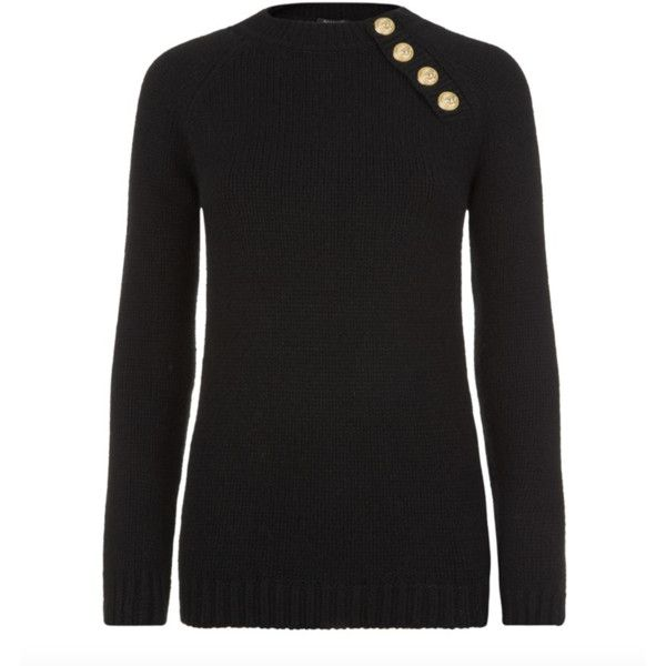 Balmain Black & Navy Merino Wool Sweater ($700) ❤ liked on Polyvore featuring tops, sweaters, black, navy blue top, print top, print sweater, balmain sweater and long sleeve tops