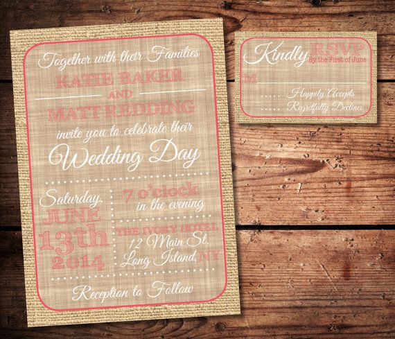 Burlap and Coral Rustic Wedding Invitation and RSVP Set (printable). But navy blue instead of coral