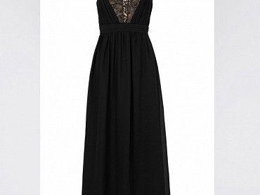 Černé dlouhé šaty s V dekoltem, nové.V.40.