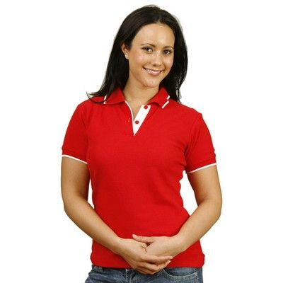 Ladies' Contrast Pique Printed Polo Shirt Min25 - Made from 65%Polyester and 35%Cotton pique fabric at 240 gsm. #CheapPoloShirts #PoloShirts #PromotionalProducts #PromotionalPoloShirts