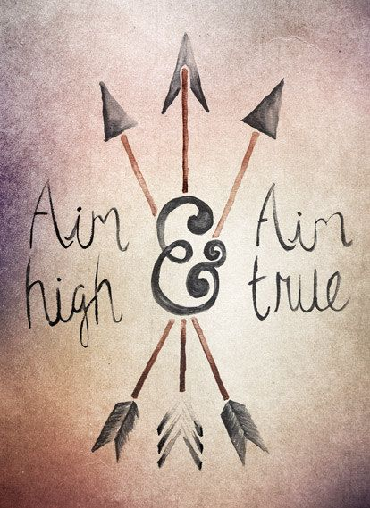 Aim High and Aim True Watercolor Type Print by Laceybabe on Etsy
