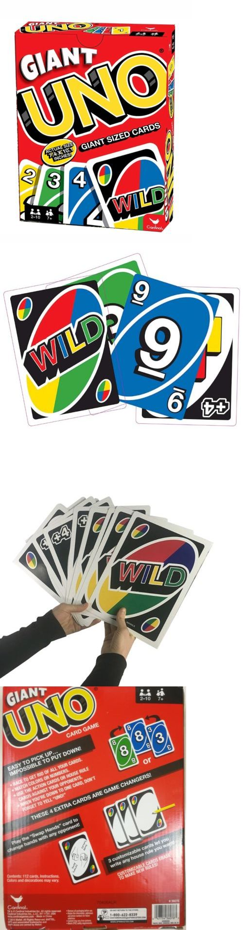 Card Games-Contemporary 19082: New Giant Uno Cards Novelty Jumbo Uno Card Game 10 1 2 + 3 Bonus Wild Blanks -> BUY IT NOW ONLY: $49 on eBay!