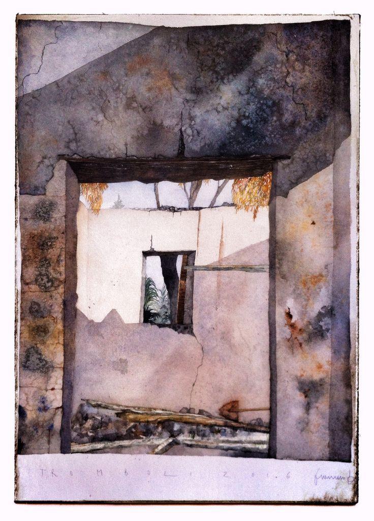 Francesco Faina La casa di Salvuccio che mai venne Watercolor su carta Khadi - 50x70 | 640 gr
