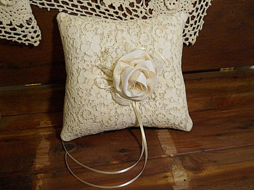 Burlap Ring Bearer Wedding Pillow handmade of burlap and embellished with vintage lace and a handmade white and ivory rose $19.95