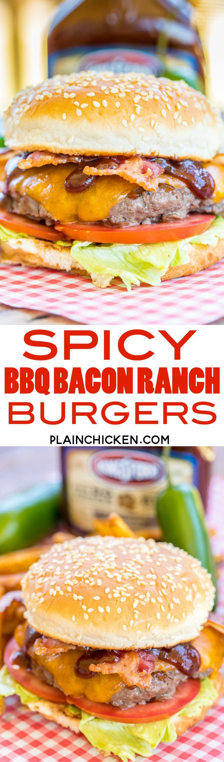 Spicy BBQ Ranch Burgers - seriously delicious! SO easy and they taste AMAZING!!! We grilled these for a party and everyone RAVED about them!! Ground Beef, Ranch mix, cheddar cheese, lettuce, tomato, bacon and Kingsford Honey Jalape�o Mesquite BBQ Sauce.