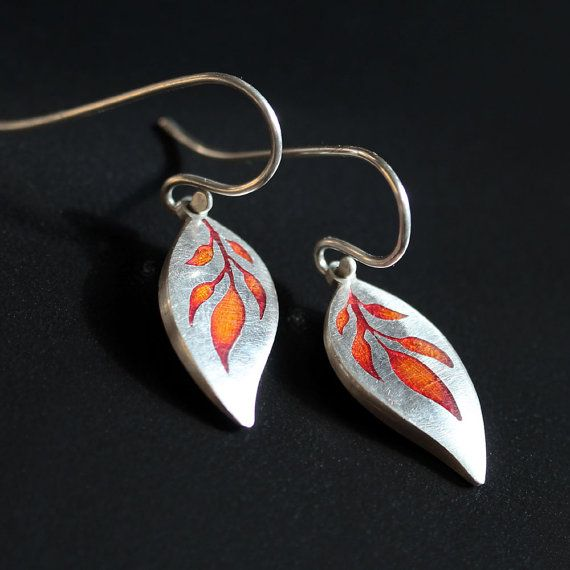 Silver and Fiery Orange Earrings  Jasmine by SmallSilverSpirals, £45.00