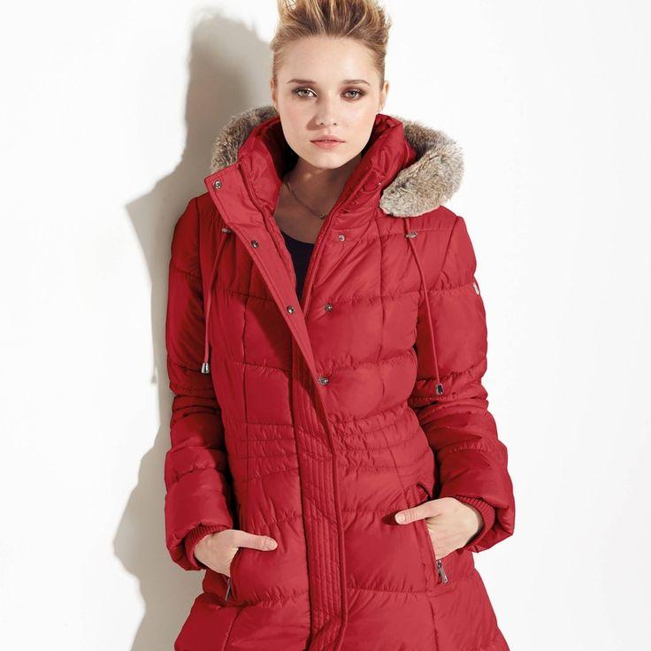 Lange gewatteerde jas met imitatiebont aan de kap MEXX